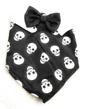 Dog Scarf Size XS/S Black And White Skull Pattern Bowtie Collar Pet Pupp... - $7.48