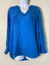 Turo by Vince Camuto Women Size M Blue Sheer Blouse Pockets  - $14.67