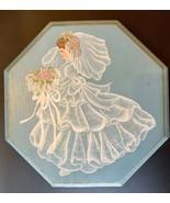 Handpainted Keepsake Wood Wedding Brides Jewelry Box Trinket Memorabilia - $27.72