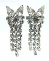 Vintage Clear Rhinestone Cat Kitten Head Dangle Clip Earrings - $29.70