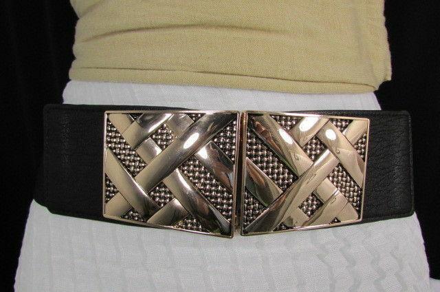Nero,da Donna Elastico Moda Cintura Vita Metallo Oro Strisce Fibbia Quadrata S M image 3