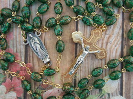 Catholic Rosary OUR LADY OF GUADALUPE medal 8MM green & gold art Glass bead - $28.04