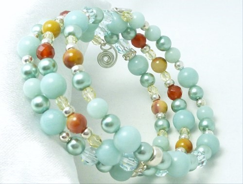 Amazonite Carnelian Citrine Sterling Beaded Wrap Layered Bracelet