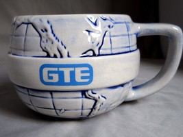 GTE Coffee Mug Cup 16oz Blue White Round World Globe Handmade Vintage US... - $19.32