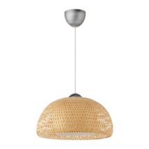 "IKEA BOJA Pendant Lamp, 17"" Rattan Bamboo and Stainless Steel, 701.550.3... - $143.99"