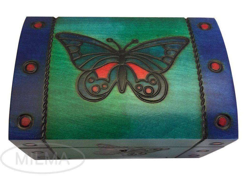 Butterfly Chest Box Polish Handmade Wooden Chest w/ Lock Kids Jewelry Box Idea