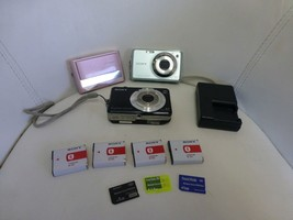 SONY Digital Cameras lot of 3 + 4 Batteries + Charger + 3 Memory Sticks - $57.87