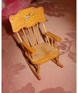 TERRI DAVIES SIGNED DOLLHOUSE MINIATURE WOOD ROCKING CHAIR 1993 - $19.95
