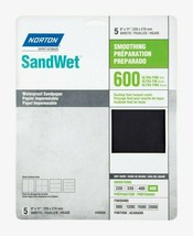Norton SandWet WATERPROOFER SANDPAPER 5 ct Smoothing 600 Grit Ultra Fine... - $9.99