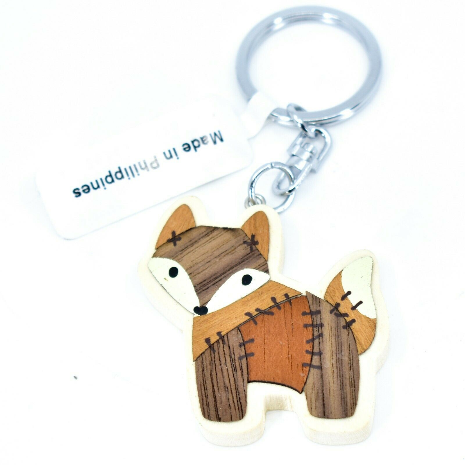 """Northwoods Layed Wood Quilted Patchwork Design Wolf 1.75"""" Keychain"""