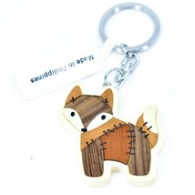 "Northwoods Layed Wood Quilted Patchwork Design Wolf 1.75"" Keychain"