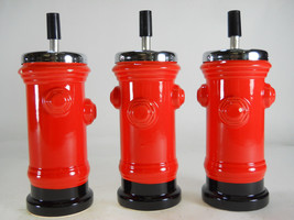 "BLEMISHED 3 pc LOT 7 1/2"" Tall RED Ceramic Fire Hydrant spin top ASHTRAY - $19.99"