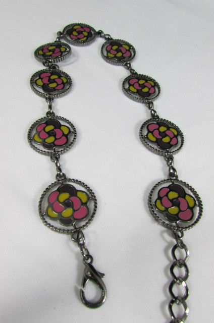 Damen Zinn Metall Bling Gürtel Gelb Rosa Blume Anhänger Hüfte Taille S M L image 4