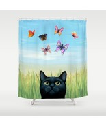 Shower curtains art shower curtain black Cat 60... - $69.99