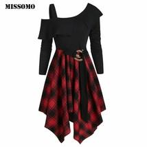 MISSOMO Party dress Womne dress Plaid Skew Neck Belted Handkerchief irre... - $14.44