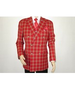 Mens sport Coat APOLLO KING Plaid 100% Thick Wool Double Breasted DS-4 R... - $103.96