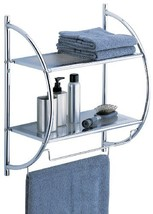 Organize It All 1753W-B Wall Mount 2 Tier Chrome Bathroom Shelf with Tow... - $19.61