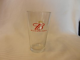 """Budweiser Script B Red Logo Beer Pint Glass Clear 5.75"""" Tall with logo - $22.27"""