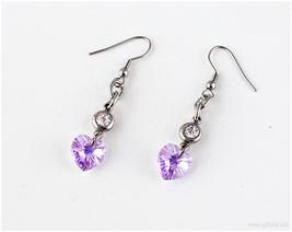 Swarovski Crystal Heart Earrings, Lavender, Stainless Steel, Handmade Jewelry - $12.00