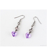 Swarovski Crystal Heart Earrings, Lavender, Stainless Steel, Handmade Je... - $12.00