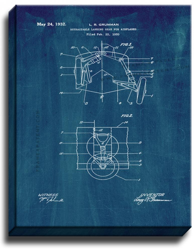 Primary image for Retractable Landing Gear For Airplanes Patent Print Midnight Blue on Canvas