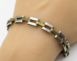 MEXICO 925 Silver - Vintage Brass & Silver Open Bar Chain Link Bracelet ... - $85.05