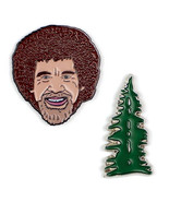 Bob Ross Smiling Face & Happy Little Tree Metal Lapel Pin Set of Two NEW... - $15.44