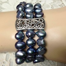 Elegant 3 Strands of Real Iridescent Black Pearls 7in Stretchable Bracelet - $23.70