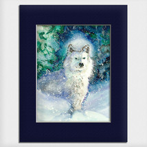 "Helen Simeonoff Native Alaskan Matted Art Print ""It's Snowing"" White Wolf - $19.00+"