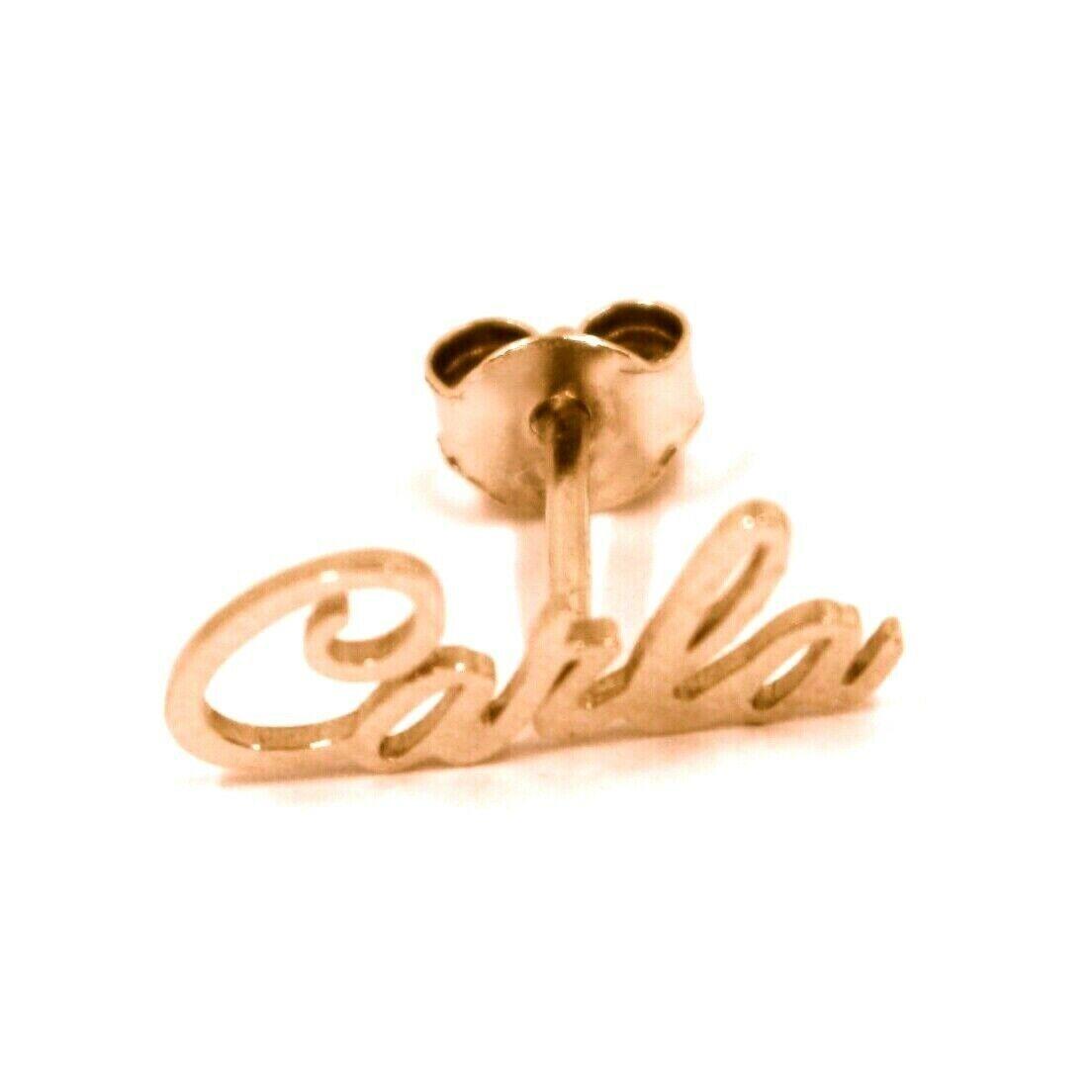 925 STERLING SILVER ROSE EARRINGS, WRITTEN NAME CARLA, MADE IN ITALY