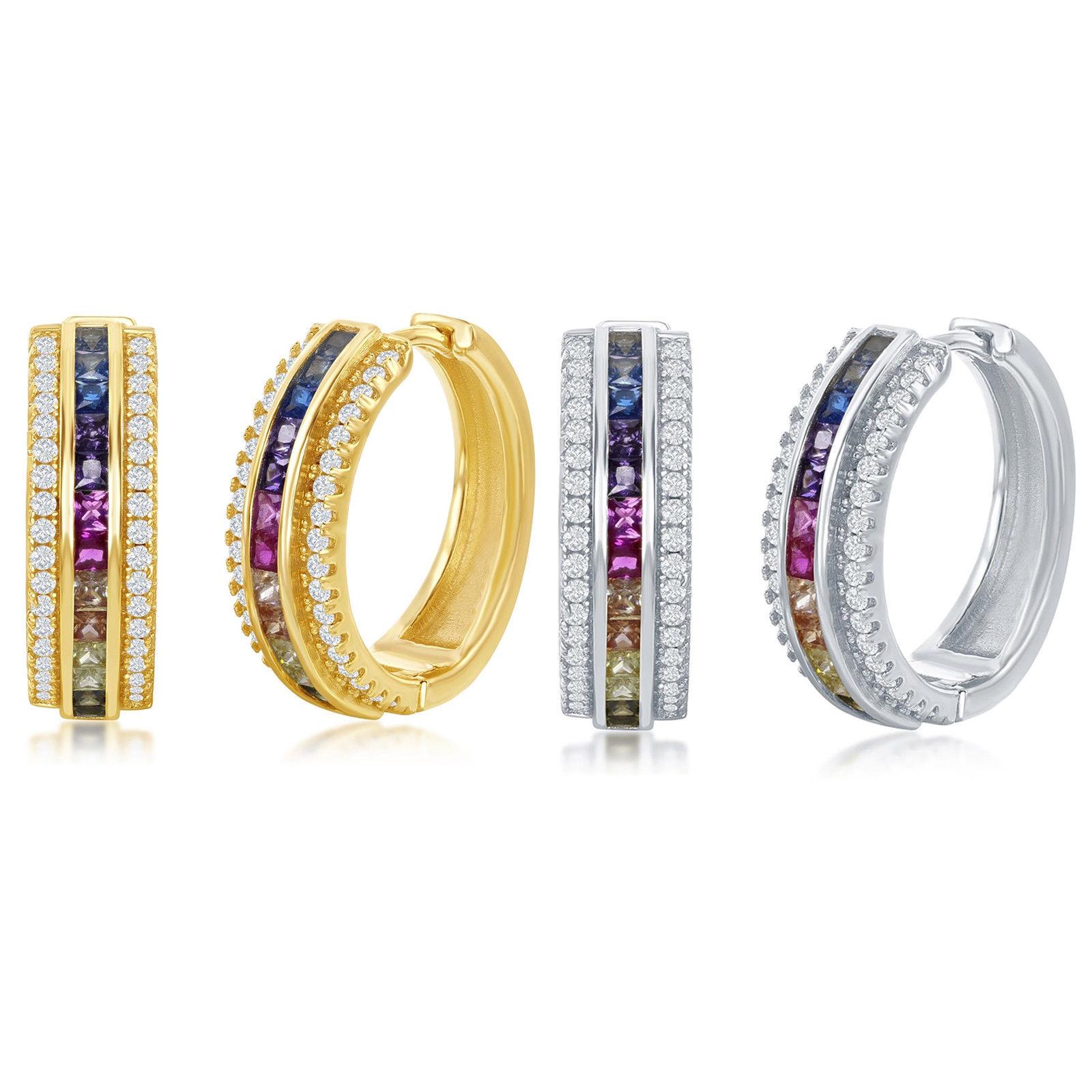 Hot Women Fashion Silver Plated Rainbow Topaz Stud Dangle Hoop Wedding Earrings