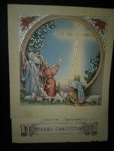 Shepherd Sheep Pasture Vintage Christmas Card - $3.00