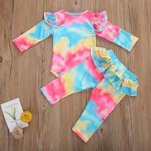 NEW Tie Dye Baby Girls Ruffle Bodysuit Pants Outfit Set  - $10.99