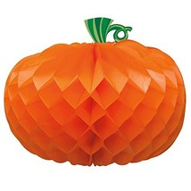 "11"" Honeycomb Orange Pumpkin Halloween Decoration - £9.45 GBP"
