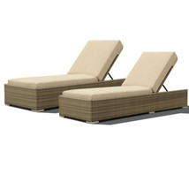 Pack of 2 Outdoor Lounge Wicker & Rattan Chaise Patio Daybed Adjustable ... - $1,286.01