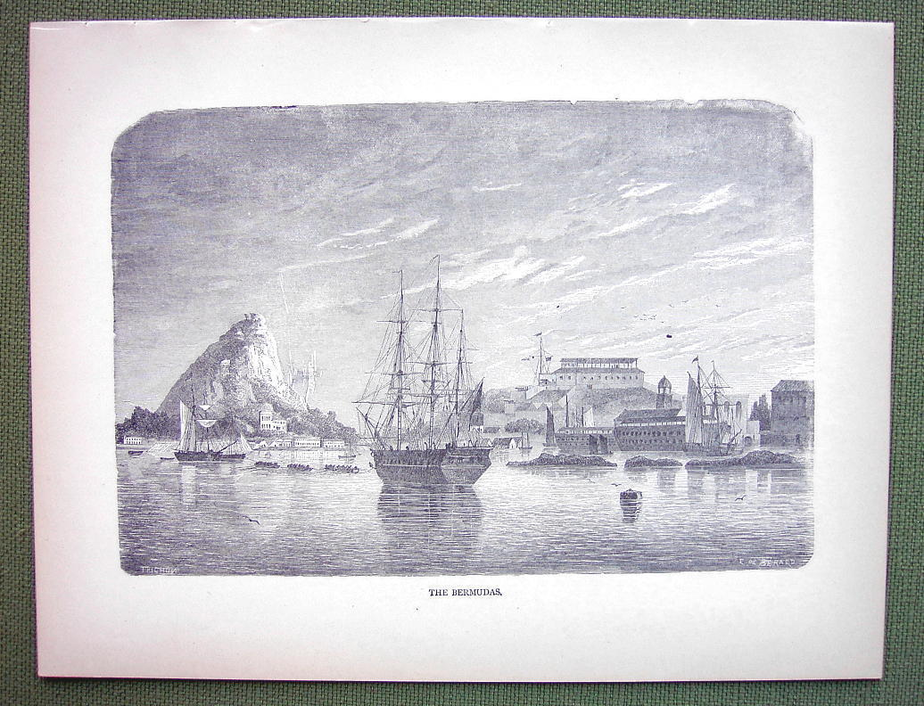 THE BERMUDAS Islands Sailship in Harbor - 1858 Antique Print Engraving