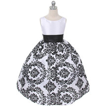 Black Sash White Satin Bodice Black Floral Velvet Taffeta Skirt Girl Dress - $34.00+