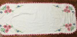 Vintage Hand Embroidered Table Dresser Scarf Runner, Crocheted Flower Bo... - $24.24