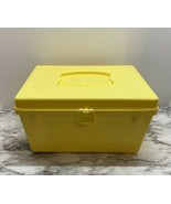 VINTAGE SEWING BOX, PLASTIC, YELLOW, WITH HANDLE, INSIDE TRAY, CRAFTS ST... - $19.80
