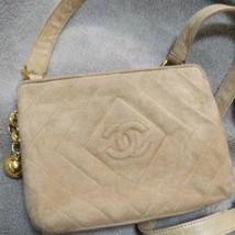 Auth CHANEL Matelasse Vintage Shoulder Bag Suede Beige Logo Crossbody B0116 - $810.81
