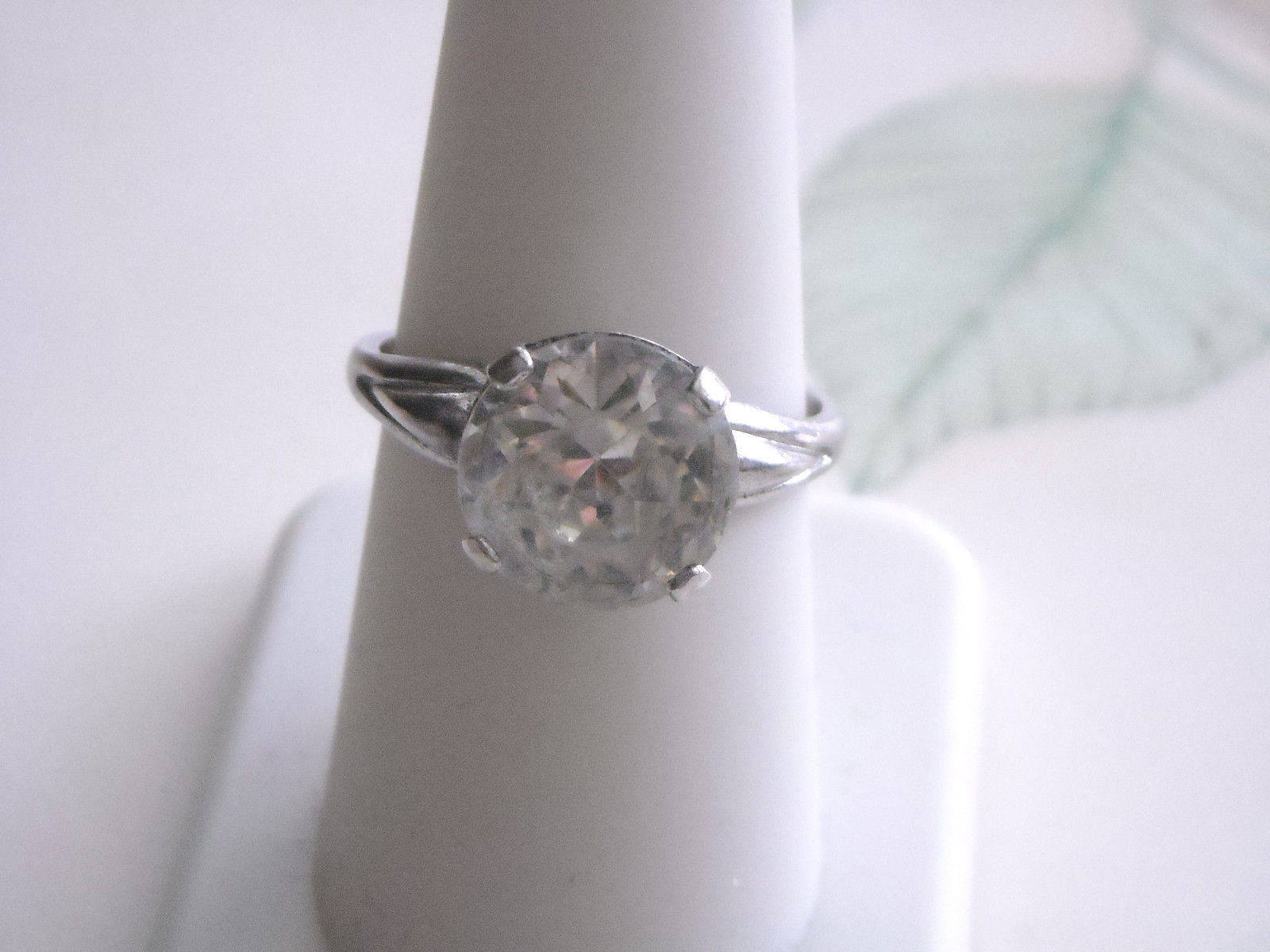 Antique Sterling Silver Light Yellow Paste Rhinestone Ring (9)