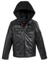 Hawke & Co. Boy's 8-20 Hooded Jacket Layered-Look Faux-Leather Full Zip-down NEW