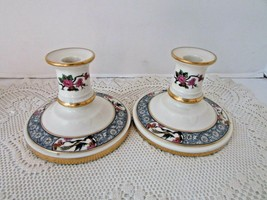LENOX CHINA PAIR OF TAPER CANDLESTICK HOLDERS MING BIRDS BLOSSOMS USA GR... - $24.70