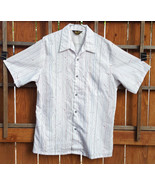 Vtg Mr. Jan Short Sleeve Shirt-L-White Stripe-Button-CA USA-Polyester-Ma... - $37.39