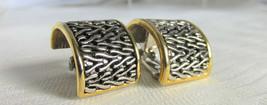Vintage Wide 1/2 Hoop Textured Silver & Gold Plate Earrings Clips Excel ... - $13.49
