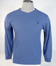 Polo Ralph Lauren Blue Long Sleeve Cotton Tee T Shirt Blue Polo Pony Mens NWT - $44.99