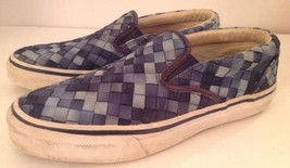 Mens Sperry Top-Sider Blue Basket Weave Woven Slip On Shoes Size 8.5 M STS10877 - $22.24