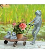 Frog Family Wagon Planter Metal  Flowers Pot Garden Pool Sculpture Statu... - £166.75 GBP
