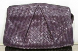 BOTTEGA VENETA Grape Pleated Intrecciato Leather Clutch Bag - Excellent! - $449.99