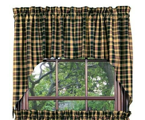 Primary image for country cabin farmhouse Tartan green black tan red plaid pattern Swag curtains